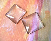 20 1 inch 25mm Clear Transparent Square Domed Glass Cabochons