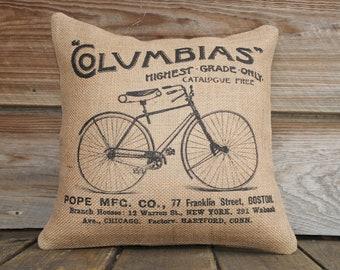 Bicycle Pillow Cover, Burlap Throw Pillow, Cushion, French Pillow, Decor