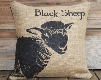 Burlap Pillow of Black Sheep, Decorative Throw Pillow, Cushion