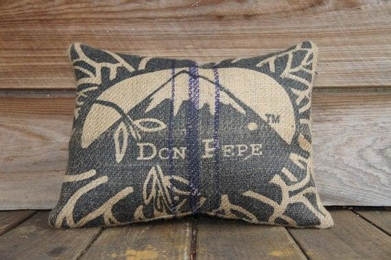 Burlap coffee bag pillow decorative throw pillow by for Decorative burlap bags