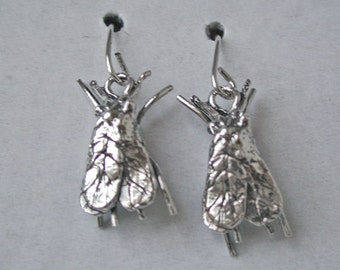 Sterling Silver WHITE FLY EARRINGS,  Handmade Original Insect Jewelry: Wear Your Favorite Insect Pests from Elegant Insects Jewelry
