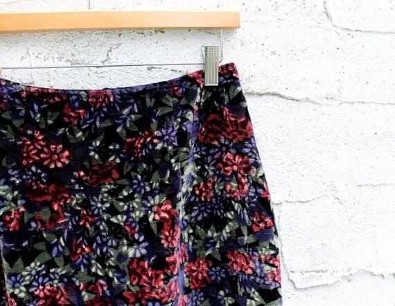 80s Velvet Pencil Skirt, Black - Green - Purple - Pink, Floral, High Waisted
