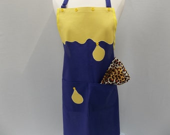 Full Artist Paint Apron in Purple and Yellow