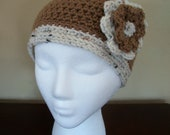 """Stylish Handmade Crochet Hat with Flower (Adults size - 21-22"""") FREE SHIPPING"""