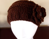 Very Stylish Handmade Gorgeous Beanie Knit Hat Soft Warm -- With Flower & Button -- Brown  -- FREE SHIPPING