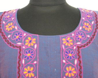 Womens Plain Navy Blue Cotton Kurta Tunic Top with Beautiful Floral and Leaf Handwork