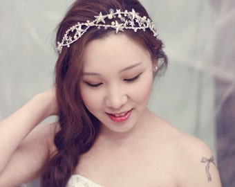 Star Headband - Unique Wedding Headpiece - Rhinestone Wedding Hair Accessories - Bridal Stars Hairpiece - SS103