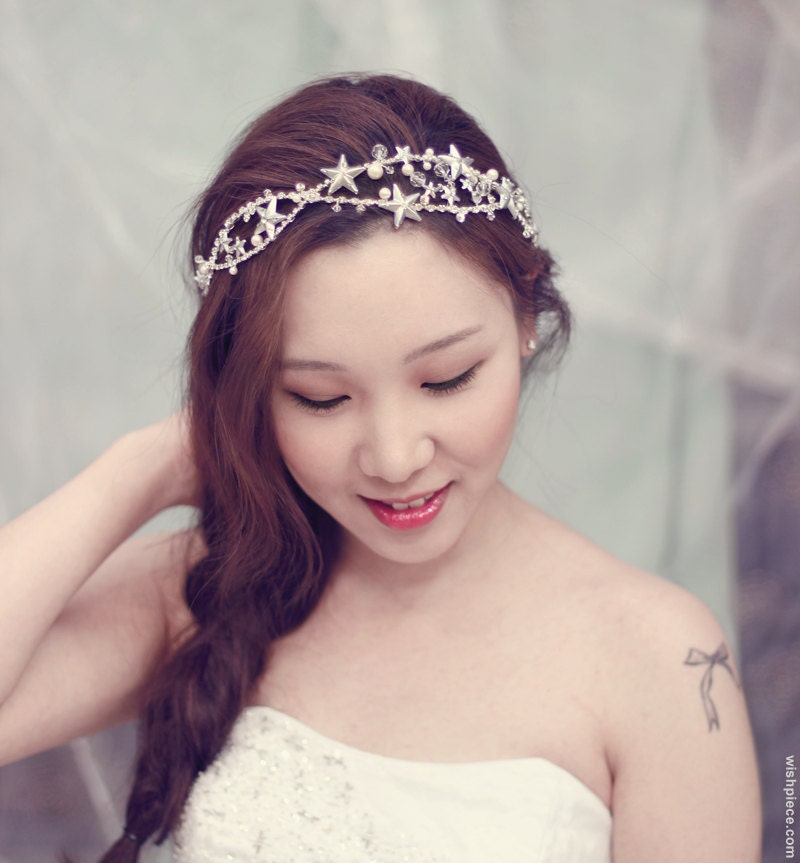 Unique Bridal Headpieces: Star Headband Unique Wedding Headpiece Rhinestone By Wishpiece