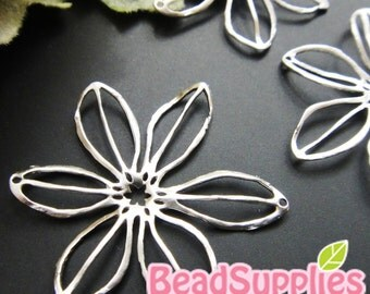 CH-ME-09211,  Matted silver (rhodium) plated,Big filigree flower charm, 2 pcs  (made in Korea)