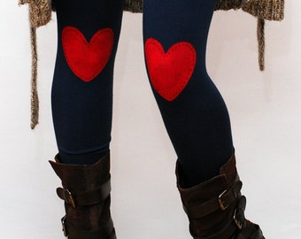 Red heart hand PAINTED leggings, tights in navy