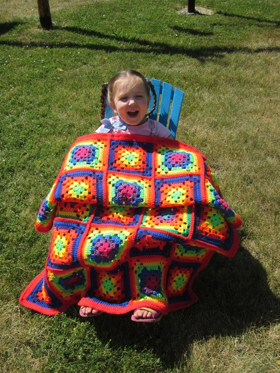 Red Rainbow Bright Granny Square Crochet Afghan Price Reduced