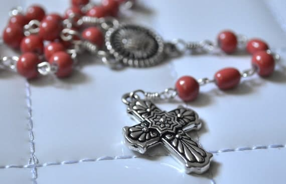 Mexican Inspired Coral Rosary