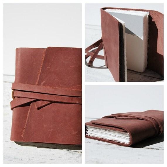 Leather Journal Handmade Travel Silkscreen Art Diary Rose Leather (011)