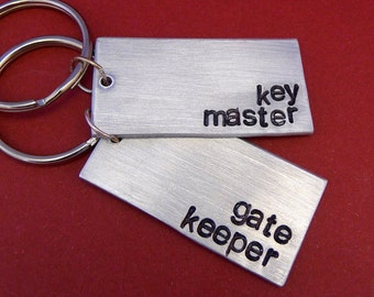 Key Master and Gate Keeper -  A Set of 2 Hand Stamped Keychains in Aluminum or Copper
