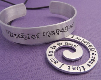 I Solemnly Swear and Mischief Managed - Spiral Necklace and Bracelet Gift Set