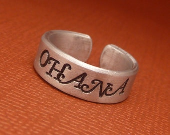 Ohana - A Hand Stamped Aluminum Ring