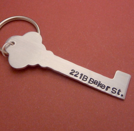 Sherlock Holmes Inspired - 221 B Baker St. - A Hand Stamped Aluminum Keychain