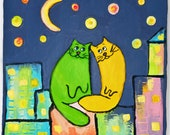 "Modern 3D House Design Picture ""Cats on the roof in night"". Wall hanging decoration. Gift and interior design idea."