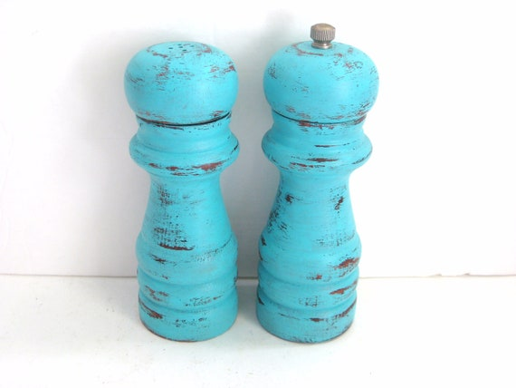 Salt and Pepper Shakers - Shabby Chic Turquoise - Kitchen Decor