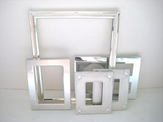 Vintage Silver Picture Frames With Glass - Set of 5 - Shabby Chic - Elegant Wedding