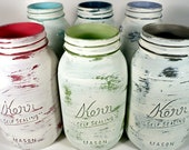 Uber Distressed, Painted, Shabby Chic White Mason Jars with Jewel Colors Inside - Bright Whites - Home Decor