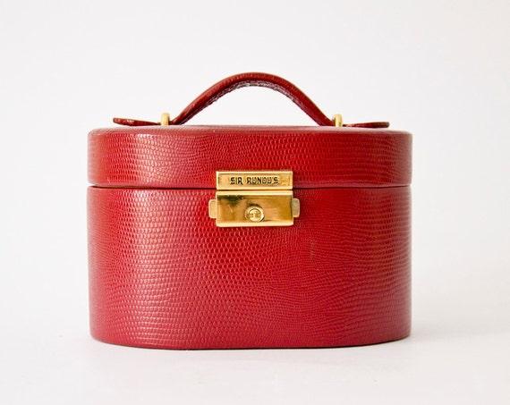 Vintage Travel case jewelry organizer Italian red leather