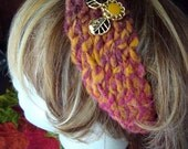 Red Orange Pink Boho Knit Womens Headband with Decorative Buttons