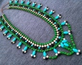 Turquoise Green Vintage Hand Painted Rhinestone Statement Necklace