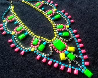 Neon Custom Hand Painted Rhinestone Statement Necklace - Tom Binns look