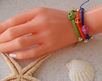 Colorful Skull Bracelets - Macrame Bracelets - Summer Style - Beach - Summer - Friendship Bracelet