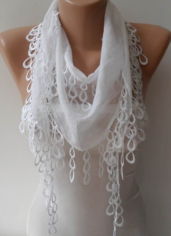 White Scarf with Trim Edge - Very Thin Cotton Fabric for Summer Days - Trendy