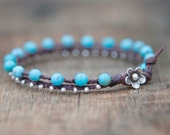 Turquoise and Silver Waxed Linen Beaded Bracelet Finished with a Leather and Thai Silver Flower Clasp