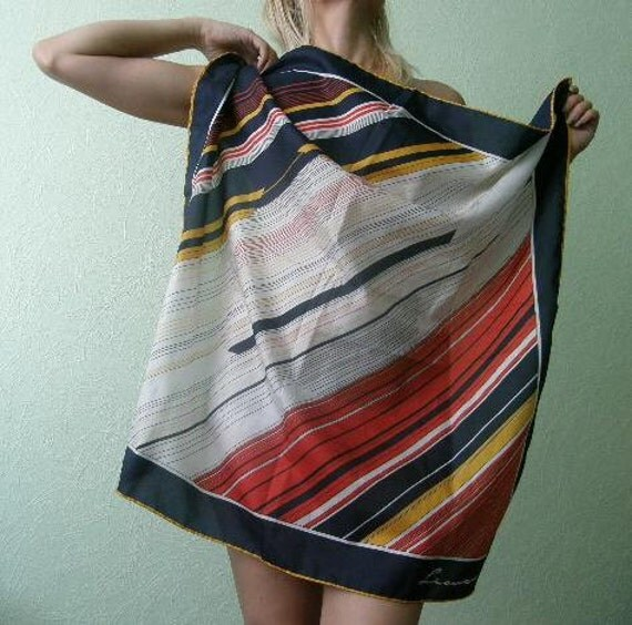 Vintage Leonardi scarf. Red, navy blue white and yellow abstract striped designer retro accessory 1980's