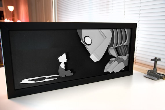 Iron Giant and Hogarth - hand cut  paper craft shadow box