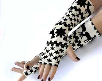Winter  Arm Warmers ,  Chirstmas fingerless gloves , mittens  - wrist warmers , cuffs , Limited Edition