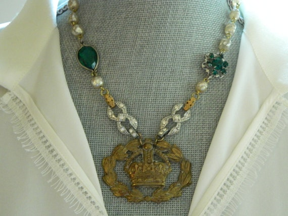 Statement Necklace Crown, Pearls and Rhinestones Assemblage