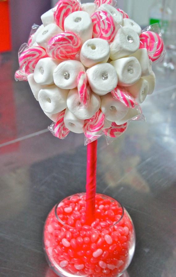 Pink white marshmallow lollipop candy land centerpiece