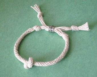 Lover's knot bracelet - kumihimo braid - adjustable - for him or her