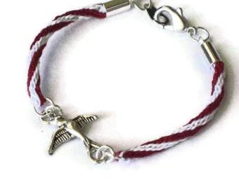 Kumihimo braid bracelet - bird in flight - red and white