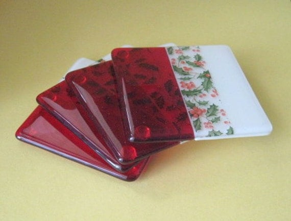 Fused glass holly coasters - set of 4
