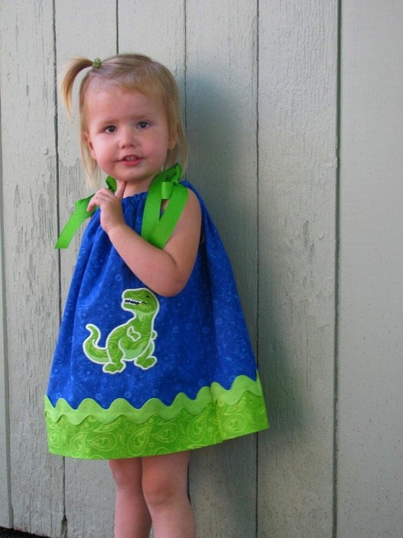 RESERVED for ASHLEY     dinosaur pillowcase dress royal blue lime green dino applique 12 months to 18 months