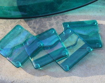 Fused Glass Coasters- Caribbean Waves (Set of 4) MADE TO ORDER
