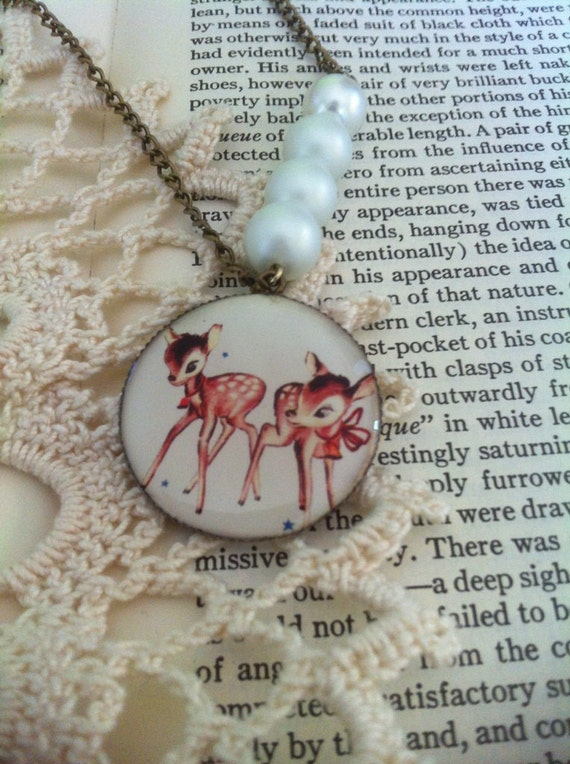 FREE SHIPPING // Two Deer Bow Glass Pearl Antique Brass Bronze Charm Necklace