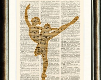 Dancing Ballerina 1 Print - vintage image printed on a late 1800s Dictionary page Buy 3 get 1 FREE