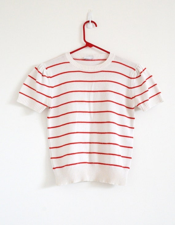 Vintage Knit Red Striped Sweater Tee Sz S
