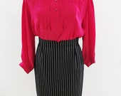 Vintage Escada Monochrome Stripe Wool Skirt