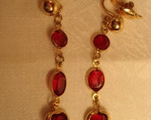 Vintage Trifari Ruby Red Bezel Earrings