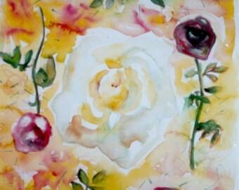 PEACE - Original Watercolor, Archival Framing.