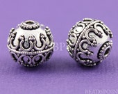 Bali Stering Silver Beautiful Granulated Bead w/ Fine Wirework, Oxidized Finish, Lovely Accent for Handmade Jewelry, 2 Pieces (BA-5100)