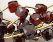 "Natural ""NO TREATMENT"", Genuine African Garnet AAA Quality, Small Faceted Cubes 5x5mm, 4 Pieces, (4GAR5x5Cube)"